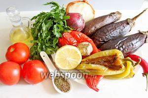 Для приготовления нам понадобятся: баклажаны и крупные перцы (2 красных и 2 зеленых ), помидоры, лук, зелень, масло оливковое, лимон, зира, чеснок, чили. Баклажаны проколоть в нескольких местах и выложить на противень вместе с перцем и выпекать при 200°С 30 мин.