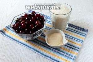 Для приготовления нам потребуются вишня свежая, сахар, вода и желатин.