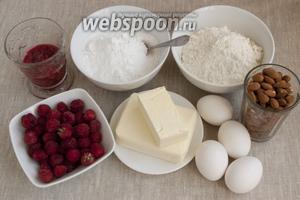 Подготовить муку, сливочное масло, миндаль, малину и малиновое варенье, яйца, сахарную пудру.