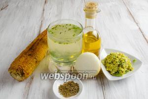 Чтобы приготовить суп, нужно взять печёную кукурузу, бульон, лук, чеснок, перец сладкий и острый (по вкусу), зиру, соль, оливковое масло.