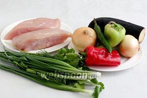 Для приготовления бугламы возьмём куриное филе (можно любые части курицы), лук репчатый и зелёный, перец острый и сладкий, баклажаны, помидоры, зелень, специи.