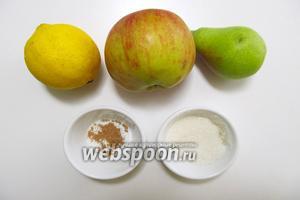 Для приготовления нам понадобятся такие ингредиенты: яблоко, груша, сахар, лимон, корица молотая.