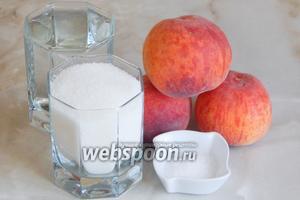 Консервировать персики мы будем из таких продуктов: отборные свежие персики, вода, сахар и лимонная кислота.