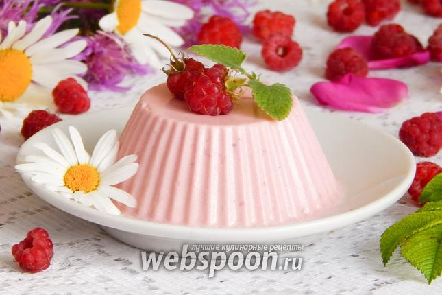 Фото Сметанно-малиновое желе