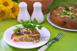 Домашний пирог на кефире с бужениной