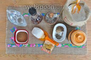 Приготовим продукты воду, мёд тёмный, винный уксус, кориандр и тмин, соль сахар, два вида муки и растительное масло.