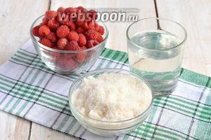 Для приготовления малинового сиропа нам понадобится свежая малина, вода, сахар.