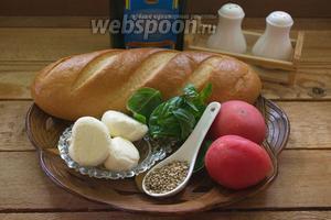 Для приготовления гренок нам нужно: растительное масло, соль и перец, батон (хлеб), сыр Моцарелла, базилик свежий, помидоры, уцхо-сунели.