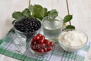 Для приготовления вишнёво-смородинового ликёра нам понадобится чёрная смородина, вишня, вода, спирт, сахар, лимонная кислота, веточки вишни.