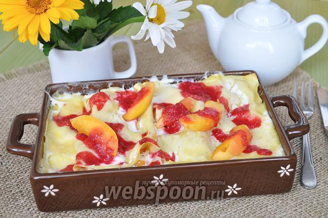Фото Лазанья творожная с абрикосами