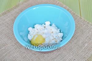 Творог протереть вилкой с сахаром и яйцом.