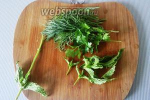 Мелко нарезаем зелень (укроп, петрушка, кинза и мята). Берём только листики.