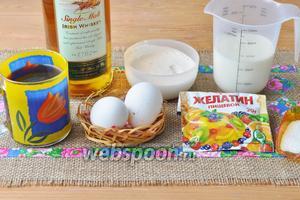 Для мусса приготовим сливки, желатин, яйца, сахар, кофе, виски, крахмал кукурузный, молоко.