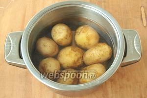 Картофель хорошо вымыть щёткой, залить холодной водой и поставить на огонь. Варить до готовности, в конце варки посолить.