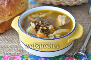 Суп из индейки с чёрной чечевицей в мультиварке