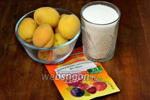 Для приготовления джема нам понадобятся абрикосы, сахар и «Желфикс 2:1».