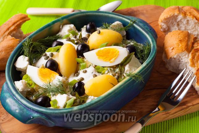 Фото Греческий картофельный салат с фетой