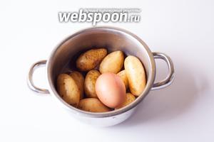 Перво на перво ставим вариться картошку и яйцо. Не обязательно в одной кастрюле, но, в любом случае, яйцо должно быть сварено вкрутую, а картошку такого размера следует варить после закипания минут 15.