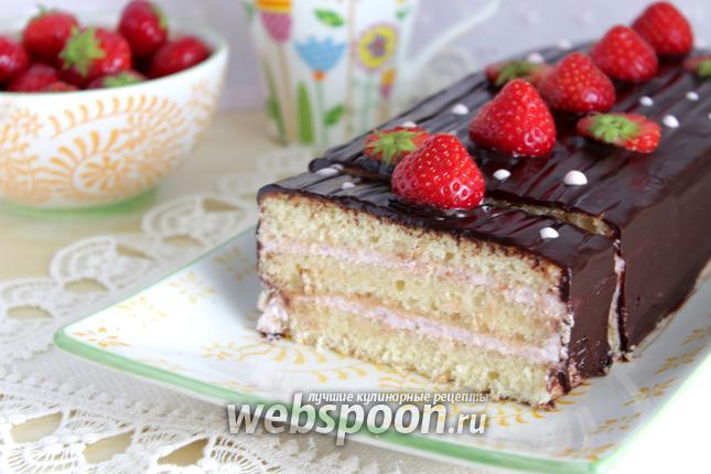 Фото Творожный торт с клубникой