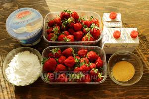 Крем: маскарпоне, клубника, желатин, сахарная пудра, сок лайма. Оформление: сливки 35-38%, сахарная пудра, цедра лайма, закрепитель.