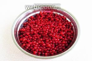 Красную смородину вымыть в проточной воде и снять ягоды с кистей.