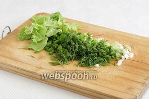 Нарезать салат, укроп или кинзу, зелёный лук.