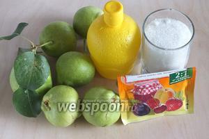 Подготовьте необходимые ингредиенты: свежие груши, лимонный сок, сахар и пектиновый порошок.