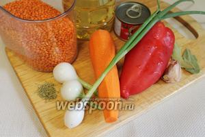 Для приготовления супа возьмём чечевицу, перец, лук, морковь, чеснок, томатную пасту, растительное масло, майоран, лавровый лист, соль.