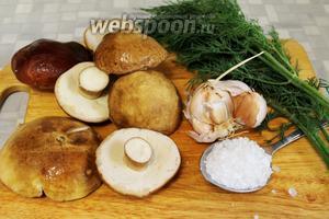Для засолки нужно взять крепкие боровики, чеснок, укроп, соль.
