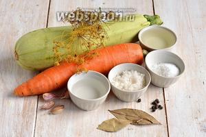 Для приготовления салата нам понадобятся кабачки, морковь, укроп (зонтики), чеснок, соль, сахар, подсолнечное масло, уксус, чёрный перец горошком, лавровый лист.