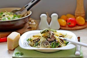 Паста с грибами и спаржей в сливочном соусе