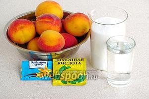Для приготовления варенья нужно взять персики (в ингредиентах указан вес персиков без косточек), сахар, лимонную кислоту, ванилин и воду.