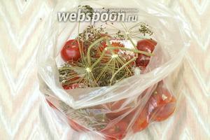 Сверху на помидоры положить розетки и стебли сухого укропа.