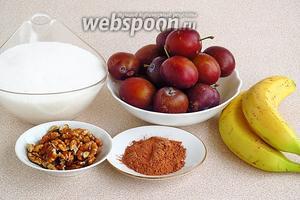 Для приготовления джема нужно взять черноплодные спелые сливы, хорошо созревшие бананы, сахар, ядра грецких орехов, какао-порошок и воду. В ингредиентах указан вес слив без косточек.