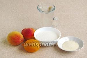 Для приготовления десерта нужно взять спелые персики, лимон, сахар, желатин и воду.