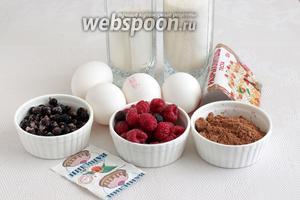 Для приготовления шоколадной шарлотки с ягодами возьмём свежую малину, смородину чёрную замороженную или свежую, какао, сахар, муку, яйца, ванилин и разрыхлитель.