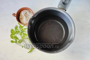 Когда огурцы полежали в воде 1 час, начинаем варить рассол. Для этого вскипятить воду, добавить соль (у меня соль со специями), добавить мяту. Я использую свежую мяту, но её можно заменить сушёной мятой (1 ч. л.).