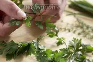 Зелёный лук, петрушку и тимьян промыть. Поотрывать с них листья и нарезать.