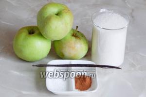 Для приготовления яблочного сиропа нам понадобятся яблоки, сахар, корица молотая (можно взять палочки), ваниль и лимонная кислота.