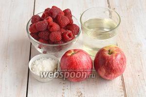 Для приготовления яблочно-малинового повидла нам понадобятся яблоки, малина, сахар, вода.