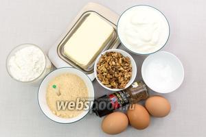 Для приготовления нам понадобятся: мука, яйца, соль, сахар, корица, ванилин, сливочное масло, греческий йогурт, разрыхлитель, грецкие орехи.