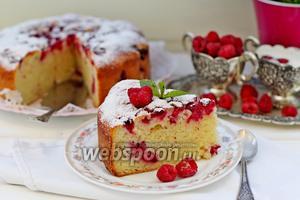 Пирог творожный с малиной