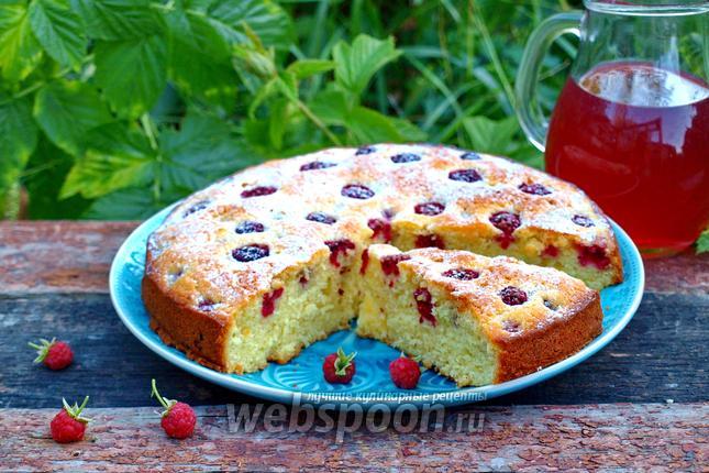 Фото Сметанный пирог с малиной