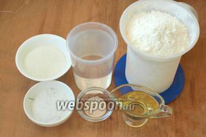 Для приготовления арнаутов нам понадобится мука пшеничная, сухие дрожжи, горчичное масло, вода, сахар и соль.