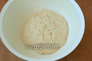 Влить в миску всю опару и замесить тесто. По необходимости подсыпать муку до получения мягкого теста, которое слегка будет липнуть к рукам. Вымешивать тесто минут 15, но муку больше не добавлять.