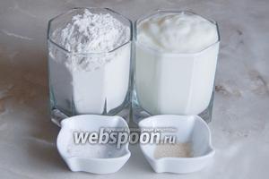 Для приготовления белого хлеба на йогурте без замеса нам понадобится мука пшеничная, соль, сухие дрожжи (отмеряйте примерно менее четверти чайной ложки) и натуральный йогурт без добавок.