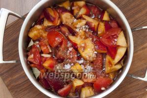 Положите в кастрюлю томатную пасту, ломтики помидоров и нектаринов, добавьте кориандр, измельченное содержимое коробочек кардамона, соль, лавровый лист.
