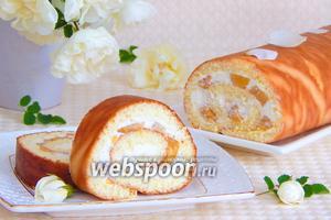 Бисквитный рулет с творогом и персиками