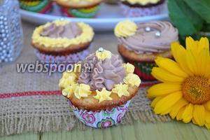 Мини-капкейки миндальные с шоколадным кремом