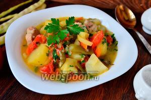 Рагу с мясом, картофелем, фасолью и помидорами